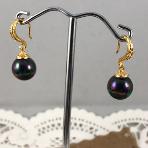 Gem Empourium Jewelry - 14K Yellow Gold Plated Black Pearl & Crystals Hook